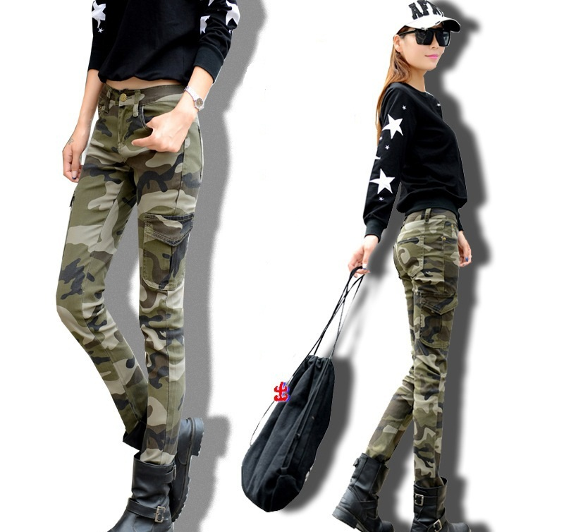 2015 New Summer Autumn Army Green Skinny Cargo Pants Women Elastic Denim Camo Cargo Skinny Pants Camouflage Pencil Pants(China (Mainland))