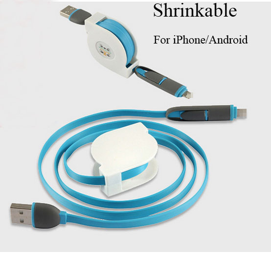 High end fast charge Efficient transmission dust plug Shrinkable durable mobile phone cable for Iphone 5 5S 5C 6 6 Plus Android(China (Mainland))
