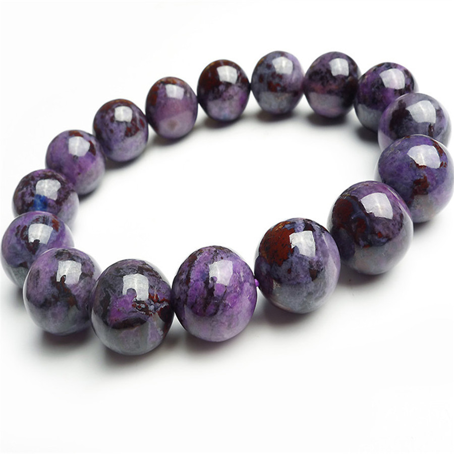 Pulseira Feminina 2016 Fashion Jewelry 13mm Just One Genuine Purple Sugilite Gems Natural Stone Round Bead Charm Bracelet Femme(China (Mainland))