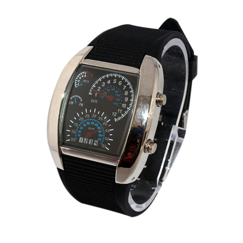 New Design Luxury hours Sports Watch RPM Turbo Flash LED Car Speed Meter Dial Men Gift Wristwatch Quartz Watches free shipping(China (Mainland))