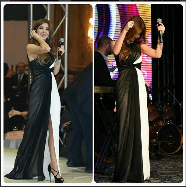 2015 Inspired by Nancy Ajram Arabic Dubai Muslim Celebrity Dresses Ruched Bodice Black &White Evening Prom Party Gowns