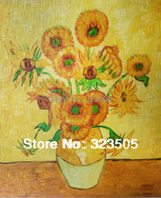 Hand painted canvas wall art Abstract oil painting reproduction the picture van gogh sunflower oil painting on canvas unframed(China (Mainland))
