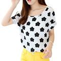 Women Chiffon T Shirts Tops Ladies Loose Short Sleeve T shirts Striped Heart Hot Selling