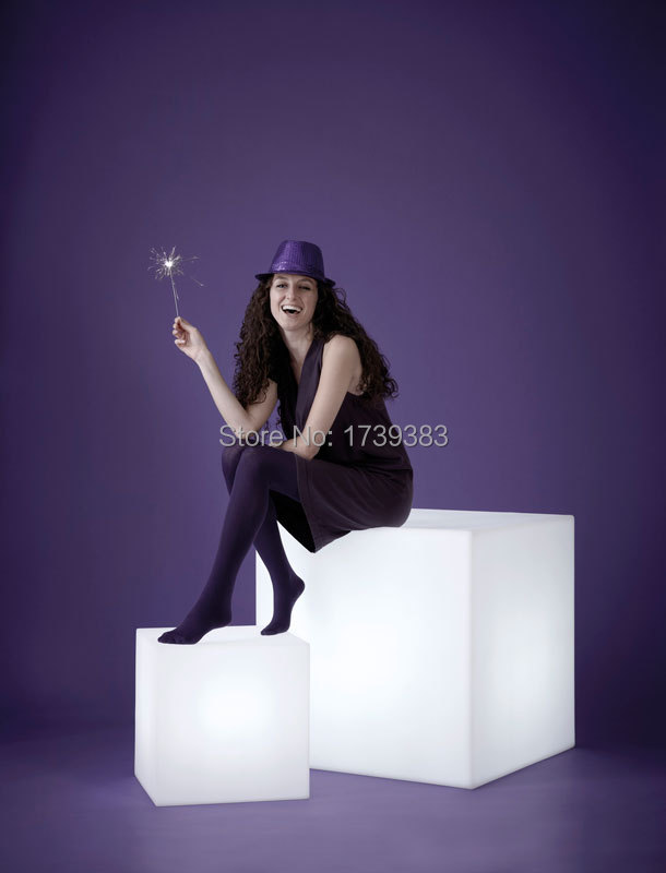 HOT 60CM 100 unbreakable led Furniture large chair table Magic Dic LED Remote controll square cube