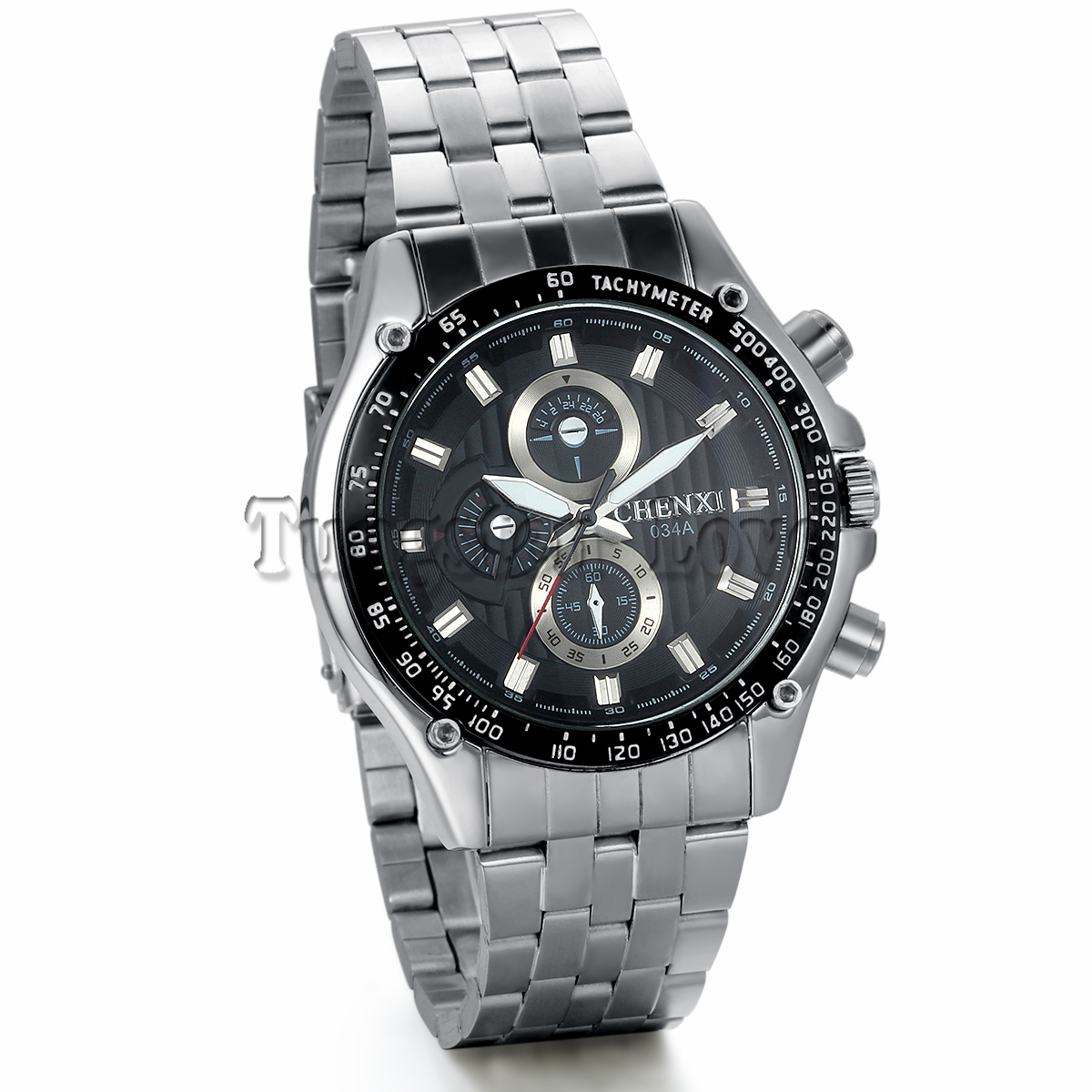 New Full Stainless Steel 3 Small Dials Black Dial Men Clock Watch Quartz Movement Mens Casual Wristwatch relojes hombre(China (Mainland))