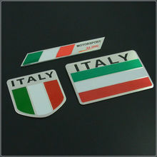 3D Aluminum Italy Map National Flag Car Sticker Car Styling For Fiat Iveco Lamborghini Alfa Romeo DeTomaso Maserati Zagato(China (Mainland))