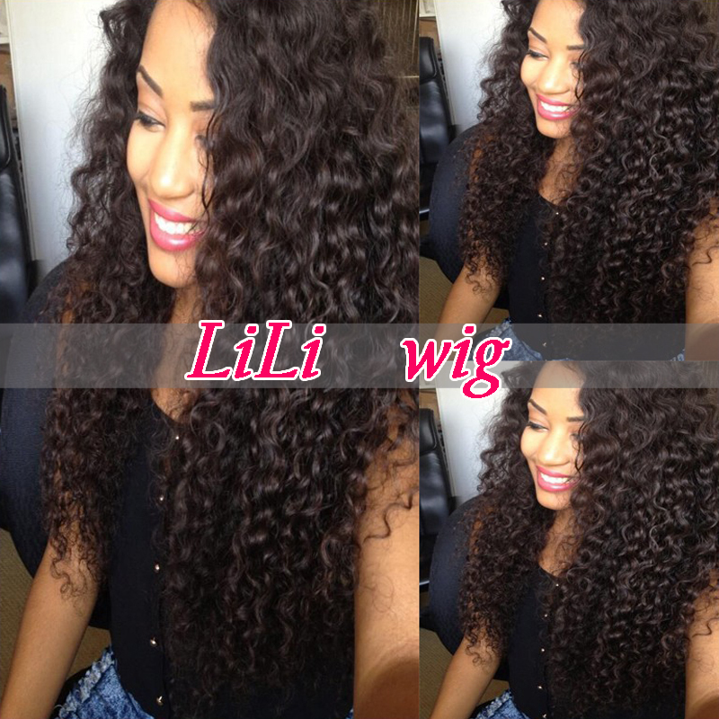 2015 Long Black Curly Wig Mongolian Curly Full Lace Wig Cheap Unprocessed 100% Human Hair Curly Lace Front Wigs On Sale(China (Mainland))