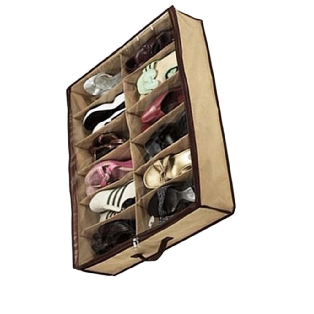 Storage Box 12 Grid Bag Non-Woven Fabric Folding Case Storage Box For shoes underwear organizer for cloth print storage 5ZCF071(China (Mainland))