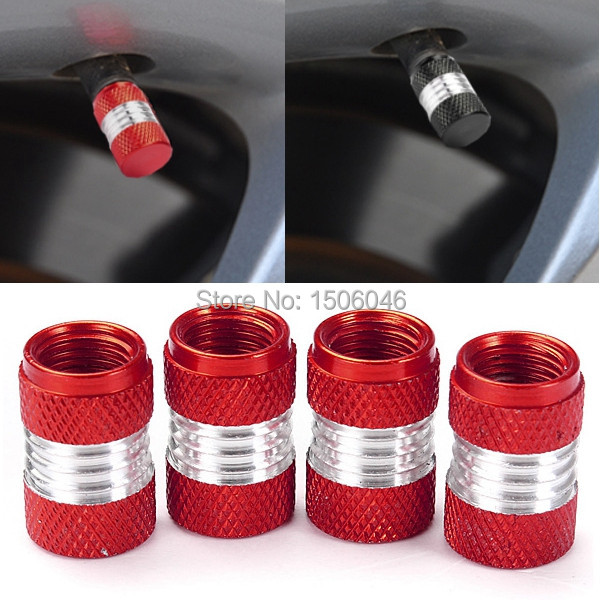 4pcs ALUMINUM Alloy Car Truck Motor Wheel Tire Valve Stem Caps Dust Covers Red FREE SHIPPING(China (Mainland))