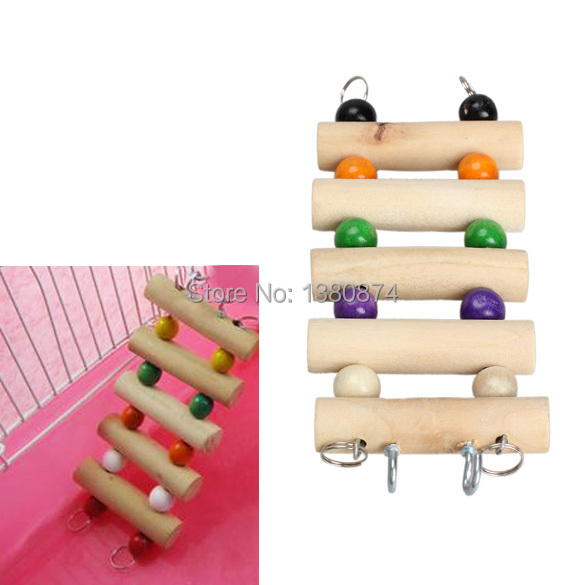 Hot sale! 2014 Flexible Pet Wooden Toys Mouse Hamster Parrot birds cage Hanging Ladder C#RT(China (Mainland))