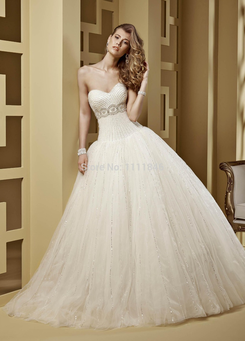 Bling Bling Crystals Corset Rhinestones Wedding Dress 2015