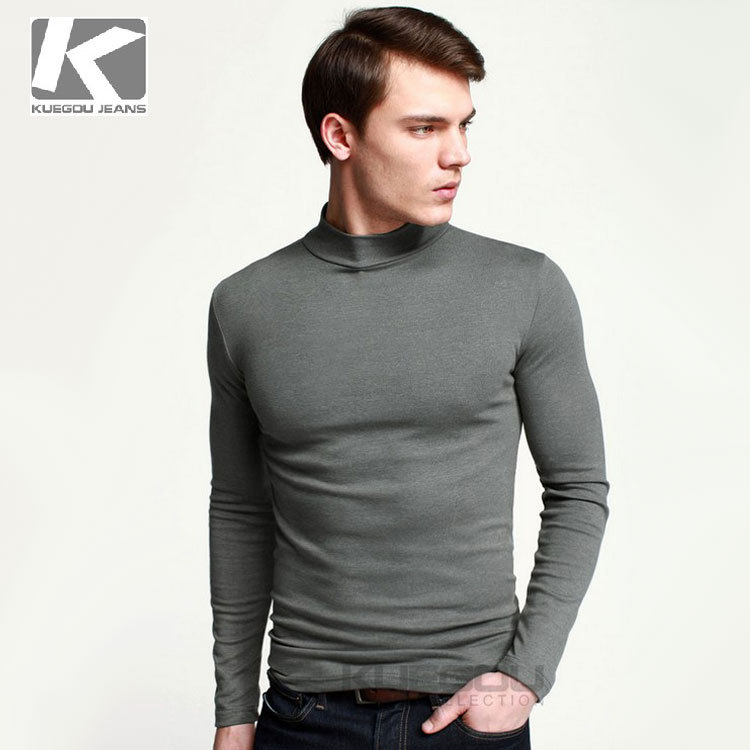 Spring 2015 Mens t Shirt Slim fit Fashion Kuegou Brand T-shirt Casual Turtleneck Lycra Cotton Long sleeve Tees Tops S-XXXL - Fall Ideal Sweaters store