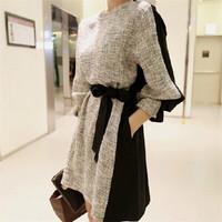 Hotsale Women Winter Warm Dresses Ladies Casual Patchwork Office Dress Plus Size Long Sleeves O-neck vestidos femininos AY852882