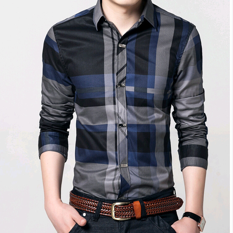 2016 men 100 cotton long sleeve plaid shirt slim plus for Mens 100 cotton long sleeve t shirts