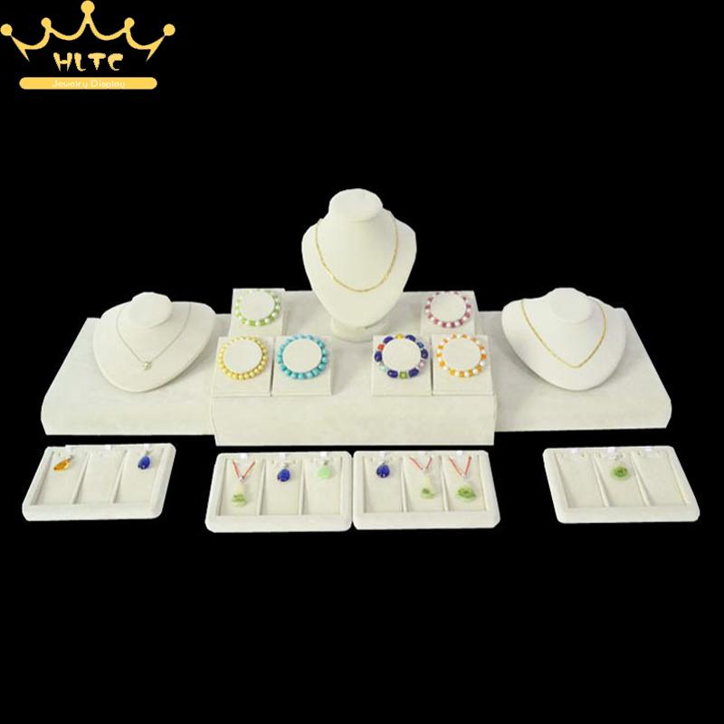 Newest Jewelry Display Beige Velvet Display Showcases Bracelet Holder Necklace Bust Pendant Stand Rack Organizer Cases <br>