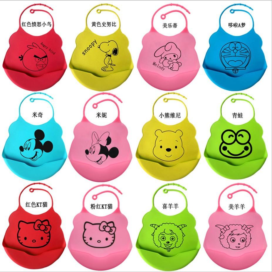 2015 new design Baby bibs waterproof silicone feeding baby saliva towel wholesale newborn cartoon waterproof aprons Baby Bibs(China (Mainland))