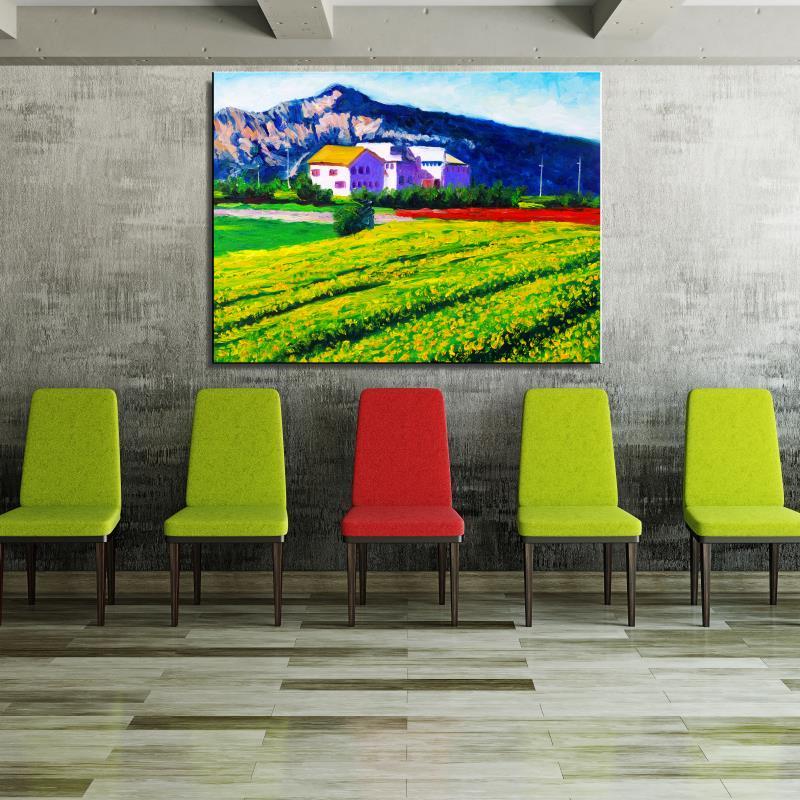 Cole flowers mountain House Landscape Pastoral Oil