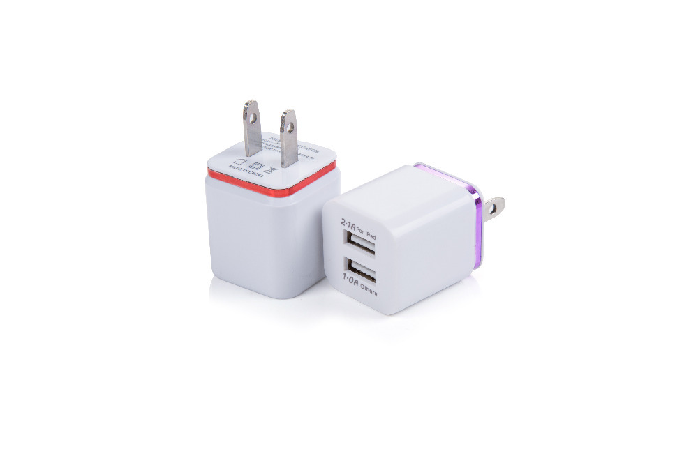 High Quality US Plug 5V 2.1/1A Dual USB AC USB Charger Wall Power Adapter for ipad iPhone Samsung HTC Cell Phones(China (Mainland))