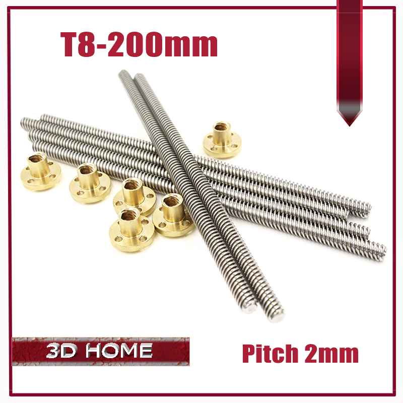 3D Printer 8mm Lead Screw Rod 200mm - 4 Start Z Axis 20cm Linear Rail Bar Shaft for 3D printer for CNC(China (Mainland))