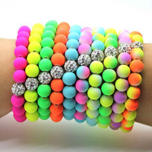 Hot! 2016 New Arrival Product Fluorescent Neon Infinity Stretch Bracelets Simple Jewelry Free Shipping!(China (Mainland))