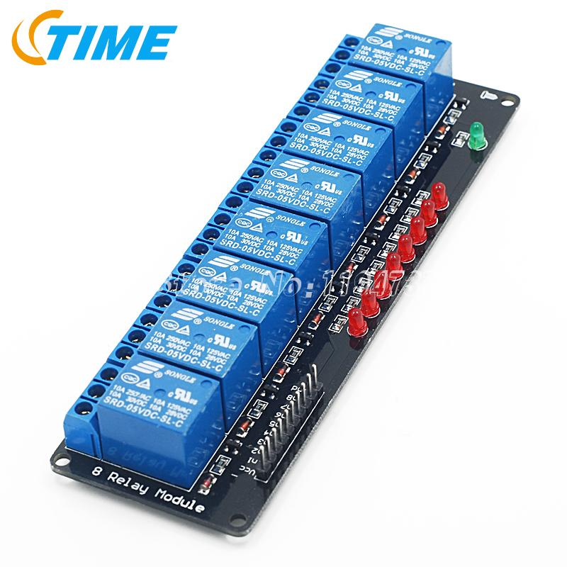 10pcs Free Shipping Black 8 Channel Relay Module 5V lamp Low level for SCM Household Appliance Control<br><br>Aliexpress