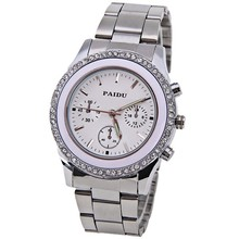 Fashion luxury brand Paidu rhinestone quartz watches clock women gold silver black color women s full