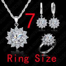 חדש חם אופנה חמניות נשים מעוקב Zirconia 925 כסף סטרלינג תליון שרשראות עגילי טבעות סטי תכשיטי חתונה(China)