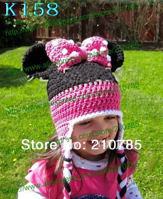 Free shipping,Cute Girls crochet Mickey Mouse hat Handmade newborn baby children Winter hats(China (Mainland))