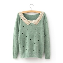 Hot Sell Christmas Xmas Bling Paillette Collar Pullover Mohair Dot Polka Long Sleeve Women Sweater with Sequins(China (Mainland))