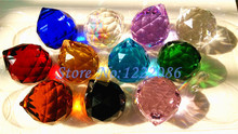 Wholesale 40pcs 40mm Faceted Crystal Ball Mixed Color Chandelier Crystal Ball Suncatcher Feng Shui(11 color choose)(China (Mainland))