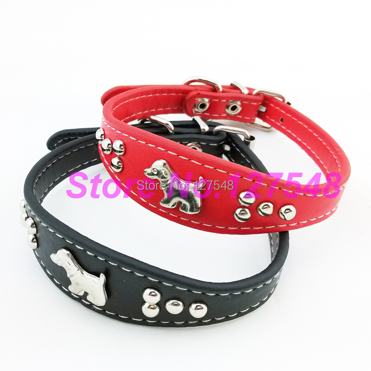 """Cute Dog Charm Studded Soft PU Leather Small Dog Puppy Pet Collar Neck for 10-13"""" Free Shipping(China (Mainland))"""
