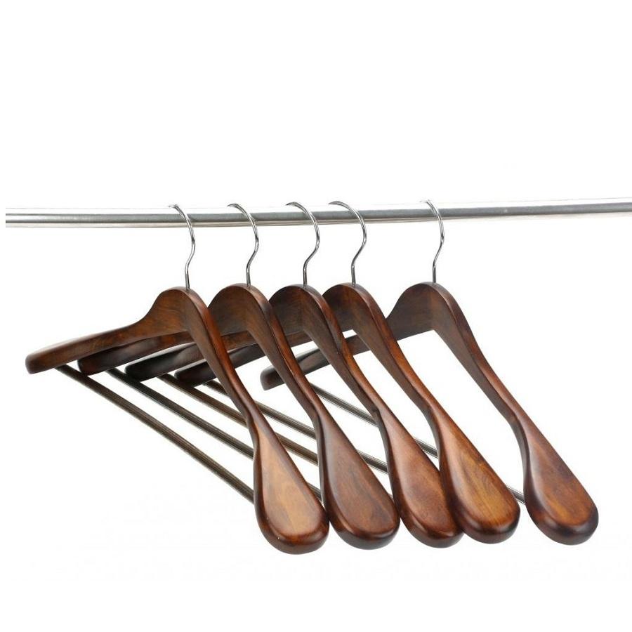 Hangerworld Extra Wide Shoulder Suit Hangers Wood Clothing Hangers