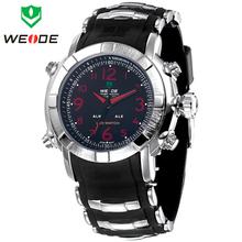 Weide alarma fecha día caja de acero inoxidable correa del silicón del cuarzo Relogio Masculino hombres reloj analógico Digital LED reloj de pulsera