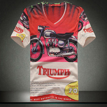 M-3XL casual tee shirt homme 3d printed short sleeve triumph retro 70's motorcycle slim cotton streetwear hip hop t shirt men