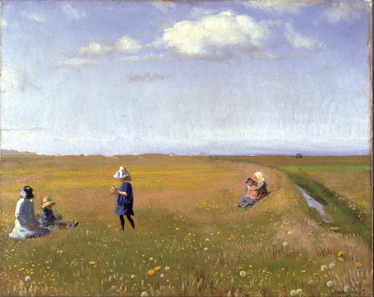 Canvas Art Prints Stretched Framed Giclee Oil Painting Michael Ancher Children Young Girls Picking Flowers Field North Skagen(China (Mainland))