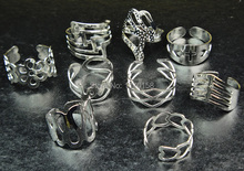 Wholesale Jewelry Lots 20pcs Mix Style Zinc Alloy Silver Plated Band Ring Toe Rings for Womens