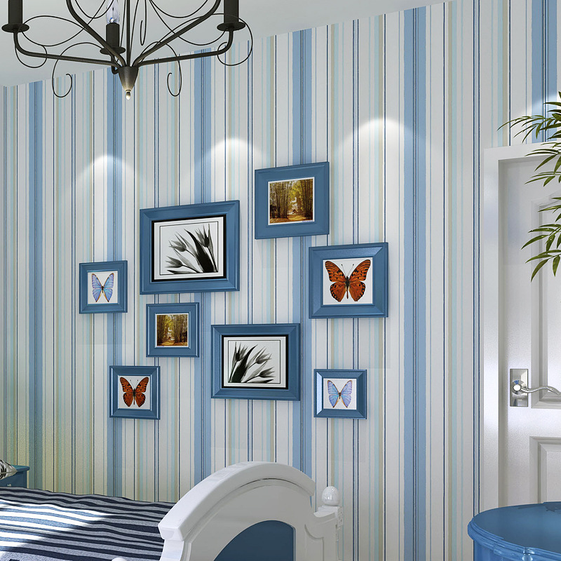 Boys girls wallpaper roll blue/pink non-woven wall paper kids wallpaper classic stripe wall paper child for living room C285(China (Mainland))