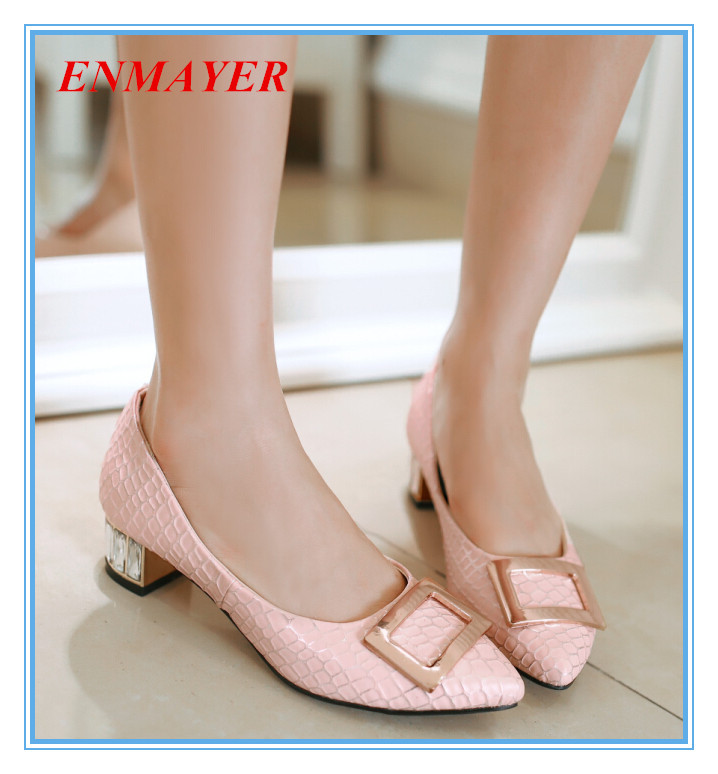 ENMAYER Basic Closed Toe  Slip-On shoes for girls blue pink white Pointed Toe PU women flats large size:34-43 buckle nice flats<br><br>Aliexpress