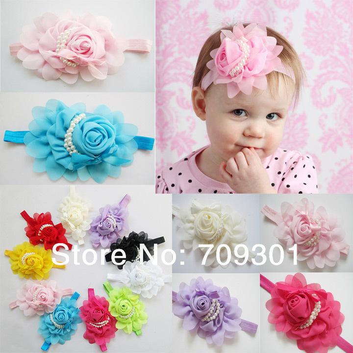 baby pink chiffon lace newborn headband vintage style baby headband newborn headband flower headband