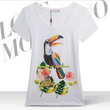 Hot New 2014 fashion women tshirt 100% cotton women t shirt Beading Austria Drilling Diamond Parrot butterfly T-shirt GT10(China (Mainland))