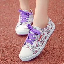 2014 New autumn small broken flower low canvas shoes for casual and comfortable flat shoes women