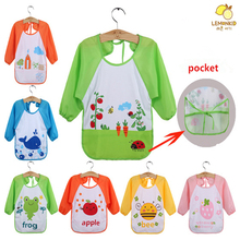 3pcs/lot Cartoon Animal Baby Long Sleeve Waterproof Feeding Bib Art Apron lovely Cute Cartoon Long Sleeve For Baby Self Feeding