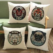 Vintage Animals Linen Throw Cushion Cover Pillow Case