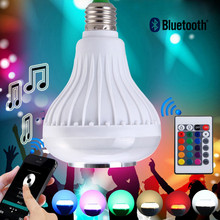 New Wireless bluetooth 12W LED speaker bulb Audio Speaker E27 Colorful music playing & Lighting With 24 Keys IR remote Control(China (Mainland))