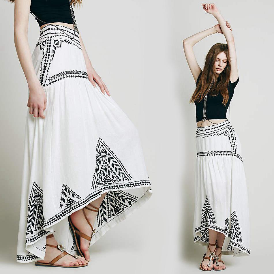 compra blanco de bohemia falda larga online al por mayor