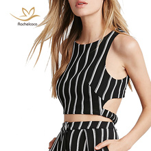 Rachelcoco 2016 Women's Summer Sexy Tank Tops Round Neck Sleeveless Plus Size Stripe Crop Tops Fashion Brand Back Zipper T Shirt(China (Mainland))