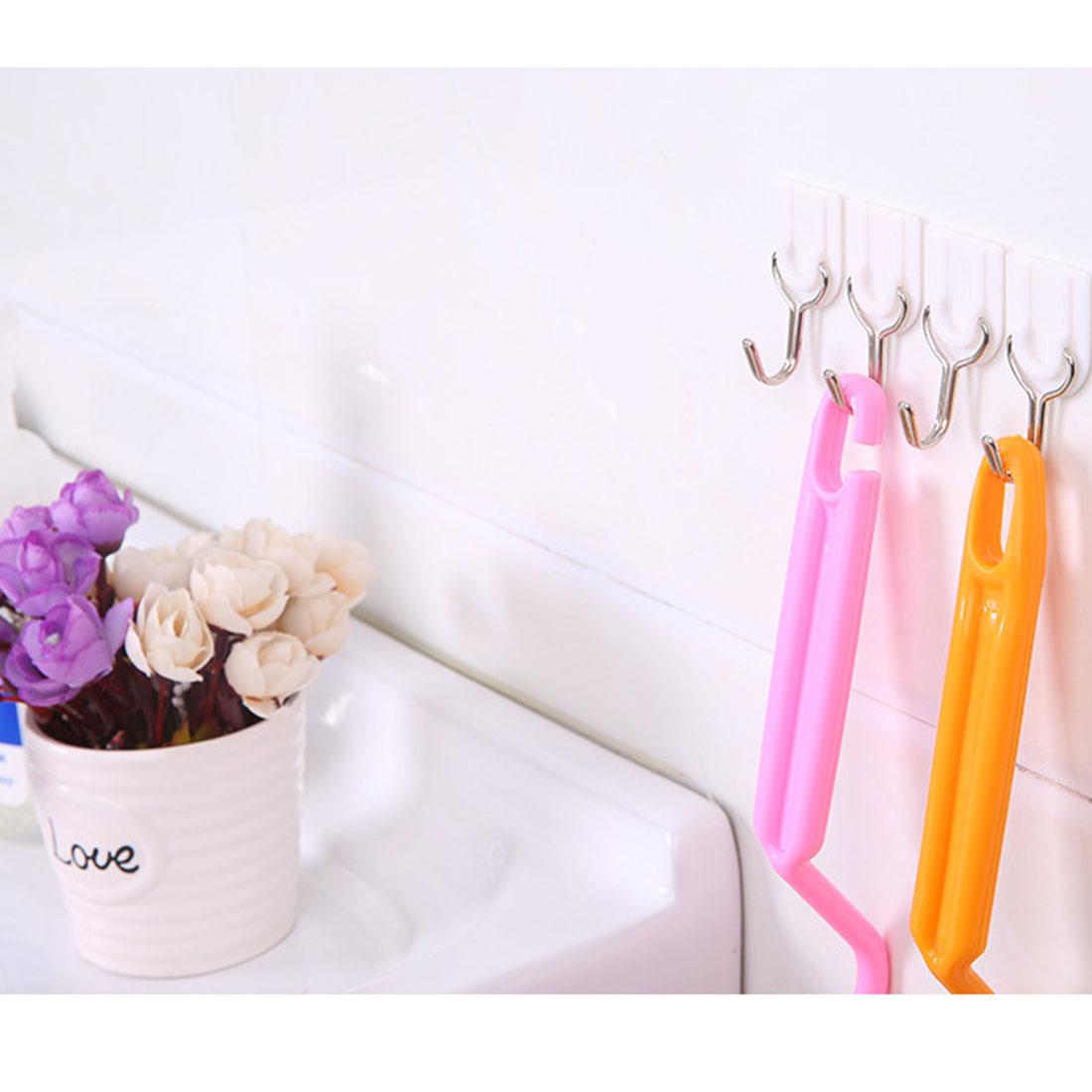 6 PCS White Bathroom Door Hooks Family Wall Hanger Hats Bag Key Adhesive Plastic Hook Coat Wall Hooks(China (Mainland))