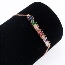 Poshfeel kolorowe cyrkonia Rainbow bransoletka dla kobiet złote bransoletki i bransolety kryształ Charm biżuteria prezent MBR190052(China)