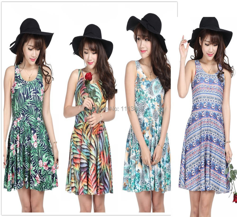 Harajuku print Flowers grass leaves women's summer dress Multicolor into Skater pleated dress casual wholesale sexy party dress(China (Mainland))