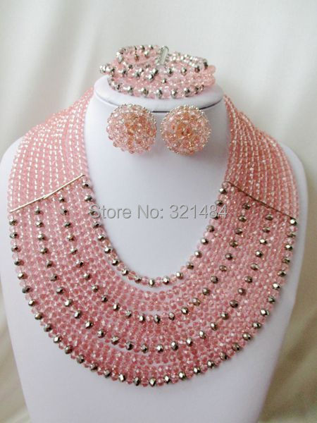 Marvelous! Peach mixed silver crystal nigerian wedding african beads jewelry set costume jewelry set VC937<br><br>Aliexpress